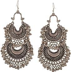 Tiaraz Fashion Stylish Oxidised Afghani Tribal Fancy Party Wear Earrings for Girls and Women (Silver)