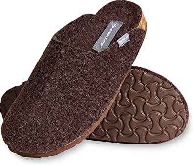 Dunlop Mens Slippers, House Slippers for Men, Felt Slipper for Man, Size 7-12, Comfy Memory Foam Mules, Warm Indoor Anti Slip Shoes, Novelty Gift for Winter