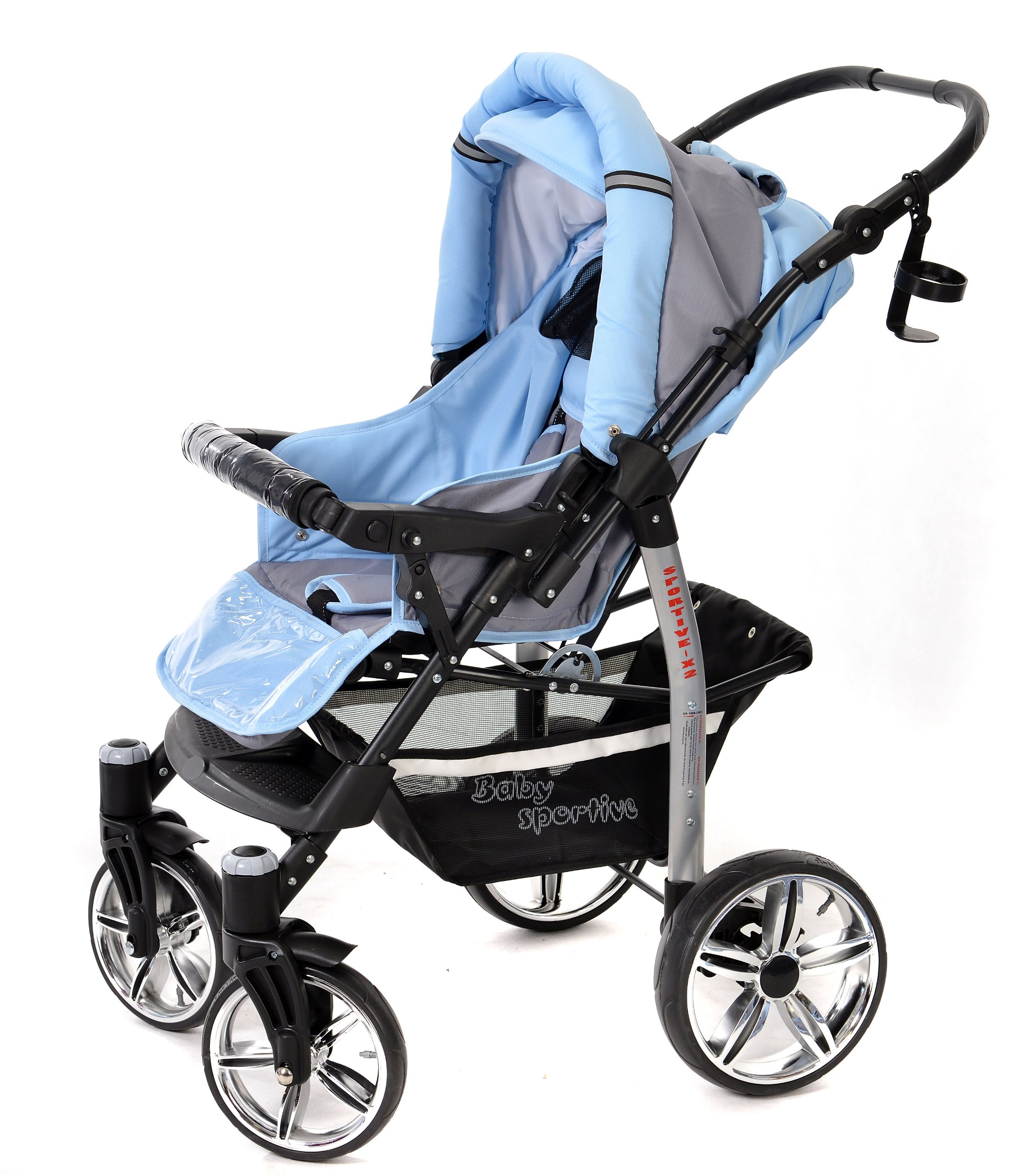 Sportive X2, 3-in-1 Travel System incl. Baby Pram with Swivel Wheels, Car Seat, Pushchair & Accessories (3-in-1 Travel System, Pale Grey & Blue)  3 in 1 Travel System All in One Set - Pram, Car Carrier Seat and Sport Buggy + Accessories: carrier bag, rain protection, mosquito net, changing mat, removable bottle holder and removable tray for your child's bits and pieces Suitable from birth, Easy Quick Folding System; Large storage basket; Turnable handle bar that allows to face or rear the drive direction; Quick release rear wheels for easy cleaning after muddy walks Front lockable 360o swivel wheels for manoeuvrability , Small sized when folded, fits into many small car trunks, Carry-cot with a removable hood, Reflective elements for better visibility 5