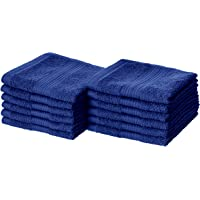 AmazonBasics Fade-Resistant Cotton Face Towel - 500 GSM - Pack of 12,(12 x 12 inches) Navy Blue