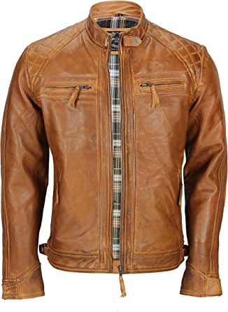 Xposed Mens Real Soft Leather Antique Washed Tan Rust Brown Vintage Zipped Smart Casual Biker Jacket