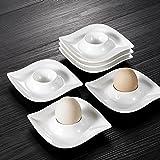 MALACASA, Serie Elvira, 6 TLG. Cremeweiß Porzellan Eierständer Set je 4,25 Zoll / 11 * 11 * 2,5cm Eierbecher Eierhalter