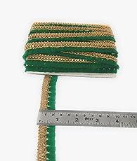 Crisskross Delhibazarindia Rajasthani Gotta Patti Lace Border, Piping Lace Fur and Craft,2x 9m (Green/ Golden,GBPIPFURGRN2C9M)