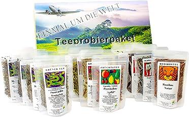 """Tee Probierpaket """" einmal um die Welt """" im edlen Geschenkpaket 12 x 25 g (100g/7,96€)"""