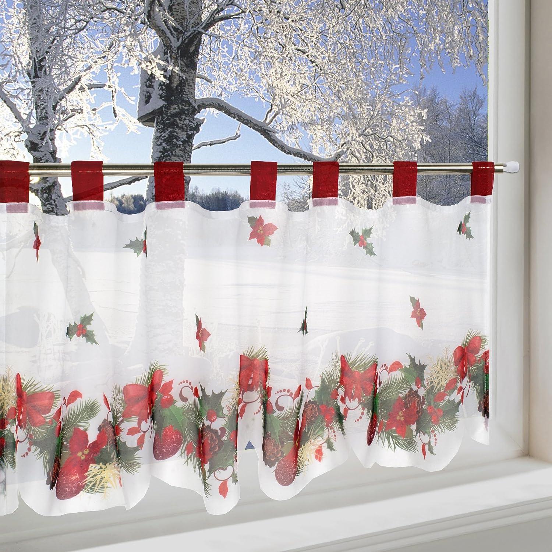 Amazonde Scheibengardine WEIHNACHTSZEIT Fr Kche Und Wohnzimmer 45x120 Cm Winter Gardine Mit