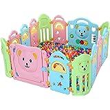 Surreal - Bär Kinder Laufstall Laufgitter aus Kunststoff mit Tür und Spielzeugboard - 14 Paneele