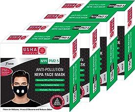 Usha Shriram FRESCO N99 PM2.5 HEPA Anti Pollution Face Mask (Pack of 4) Air Mask