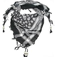 LOVARZI Moderna sciarpa in cotone fantasia teschio con applicazioni di teschi - Unica - Unisex