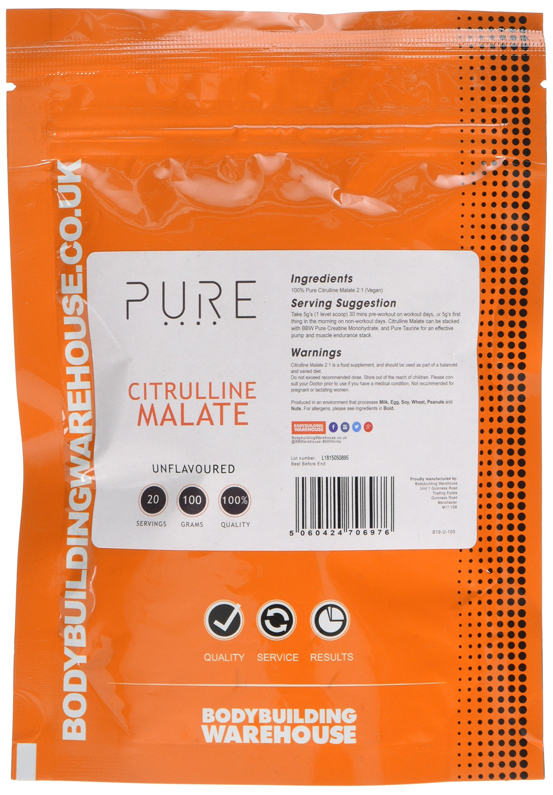 91%2BEM5ZpQEL - Bodybuilding Warehouse Pure Citrulline Malate Powder Unflavoured