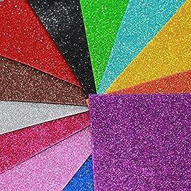 Happy Craft EVA Foam A4 Size Glitter Sheets for Arts and Crafts, Scrapbooking, Paper Decorations  Multicolour, 10 Pcs