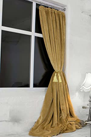 MADISON OLD GOLD 100% BLACKOUT VELVET CURTAINS FULLY LINED PENCIL PLEAT  (122u0026quot; ...