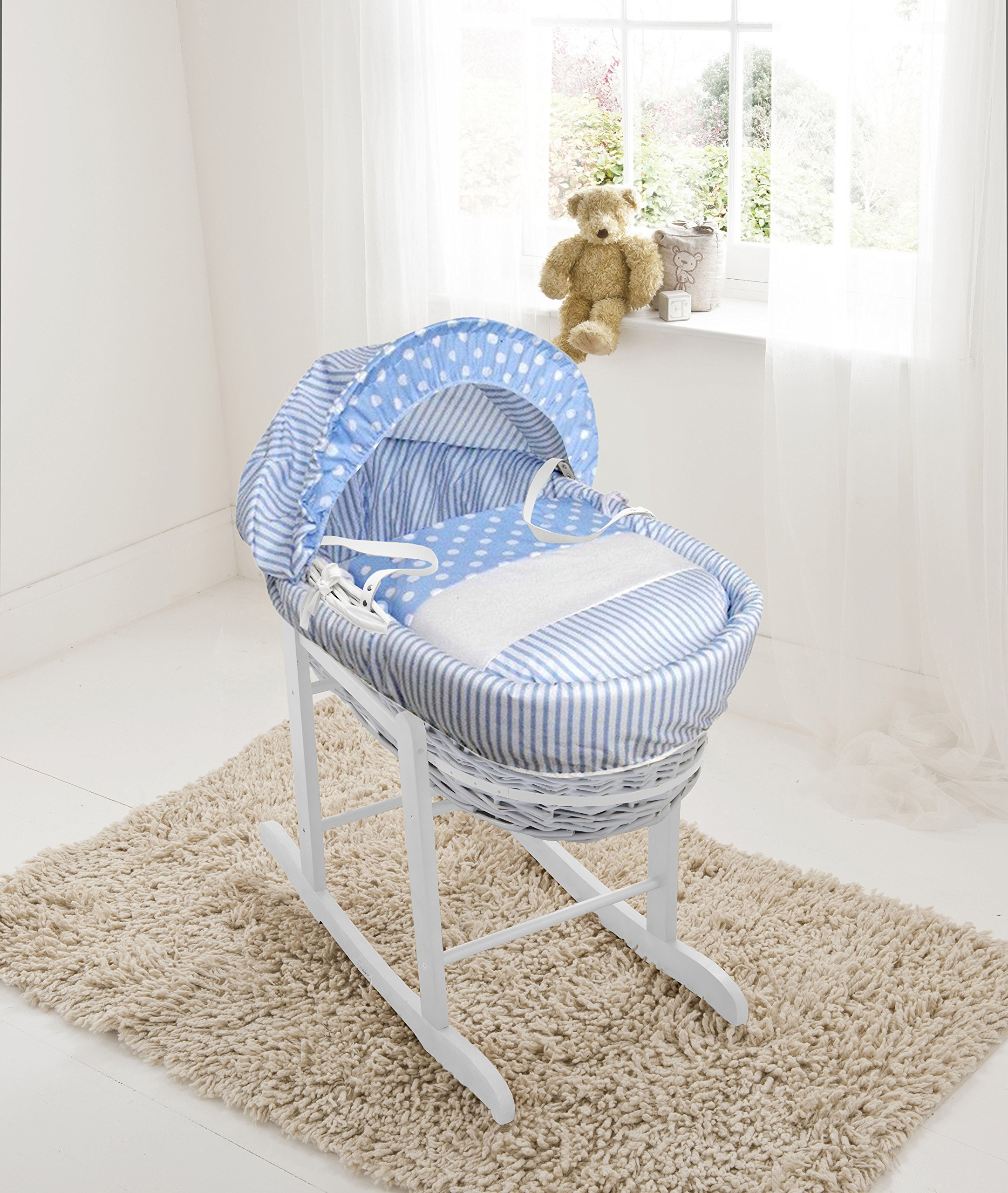 Blue Spots & Stripes White Wicker Moses Basket & Deluxe White Rocking Stand Elegant Baby Suitable from newborn for up to 9kg, this Moses Basket uses Easy-care Poly Cotton with a soft padding surround Suitable from newborn to 9 months It also includes a comfortable mattress and an adjustable hood perfect to create a cosy sleeping space for your precious little one 1