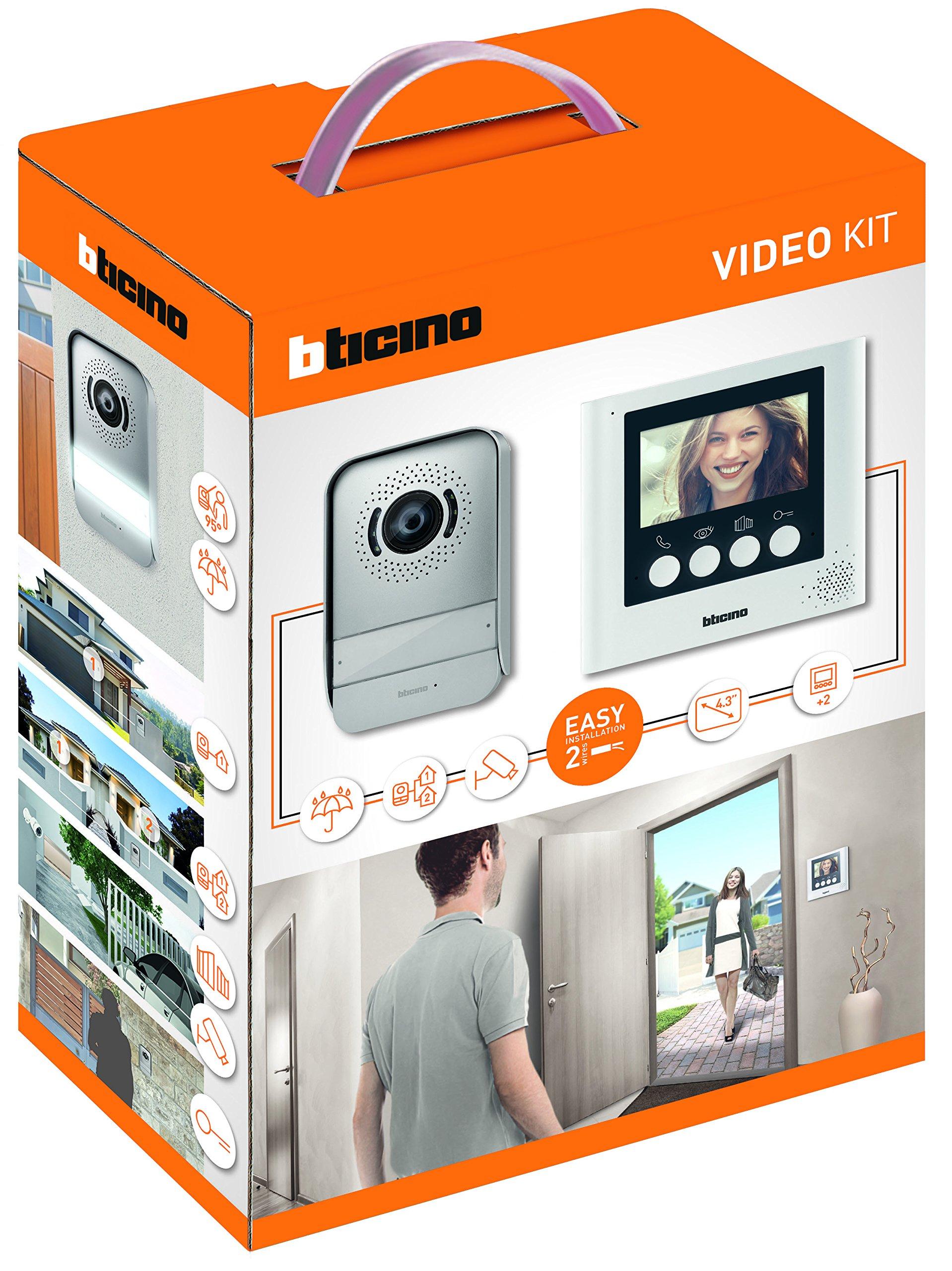 Bticino 316913 Kit Videocitofono 2 Fili, 4.3 a colori, Mono/Bifamiliare, Bianco