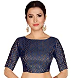 STUDIO Shringaar Women's Brocade Stitched Elbow Length Sleeves Saree Blouse