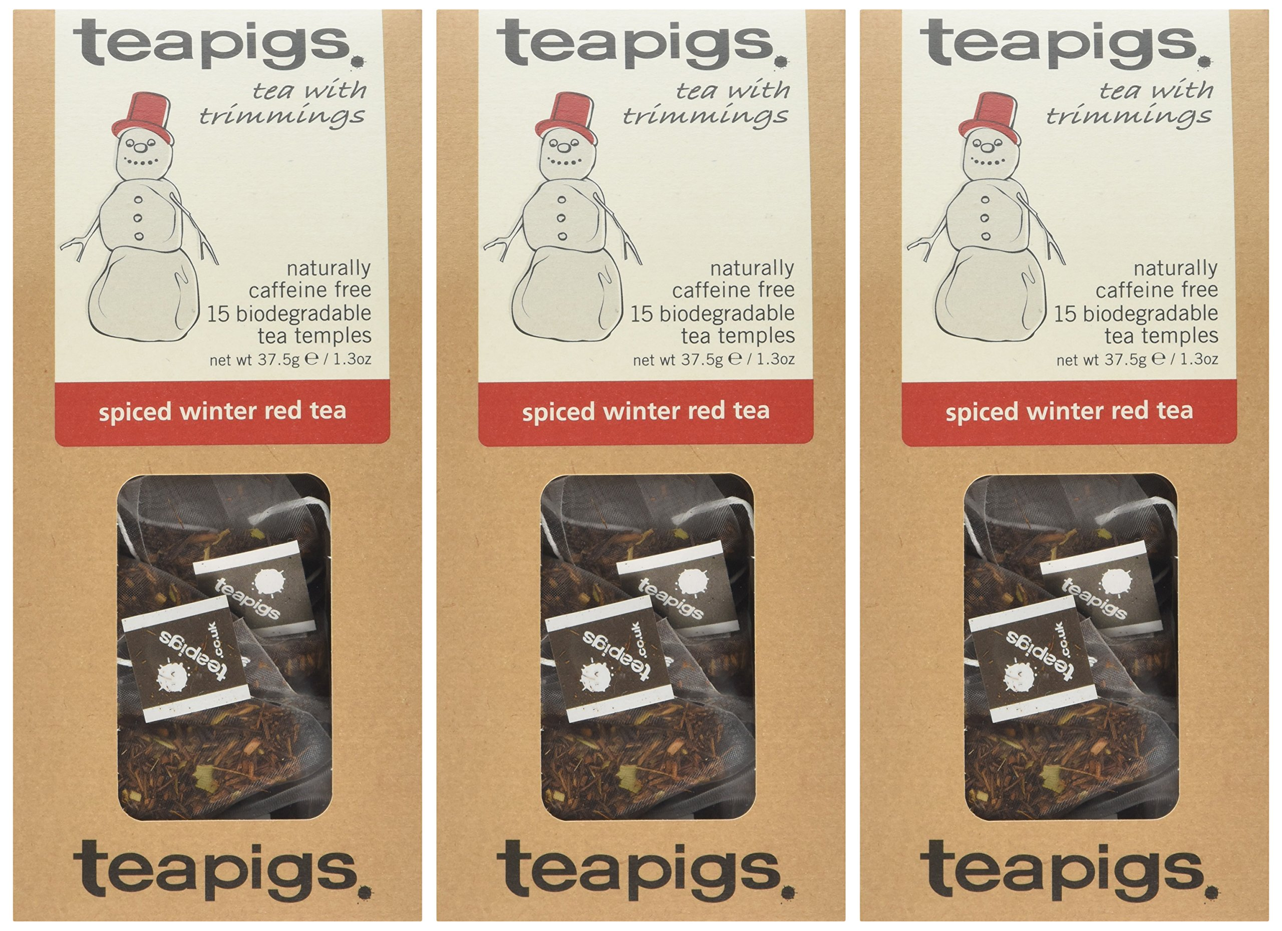 Teapigs spiced winter red tea bundle (rooibos tea) (3 packs of 15 bags) (45 bags) (a fruity, spicy tea with aromas of cinnamon, cloves, ginseng, orange, safflower petals) (brews in 3 minutes)