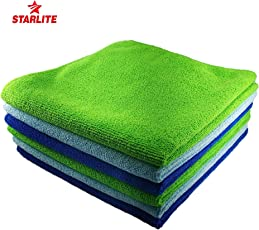 STARLITE Microfiber Car Cleaning Cloth Detailing and Polishing and for Ktichen Items 40 cm * 40 cm 350 GSM. Set of 3,Multicolor,SkyBlue,Green,Blue