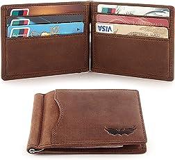 SEMLIMIT Echtleder Geldbörse SG2 inkl. Münzfach und Geldklammer Premiumqualität - RFID/NFC Schutz - für 1 bis 9 Karten
