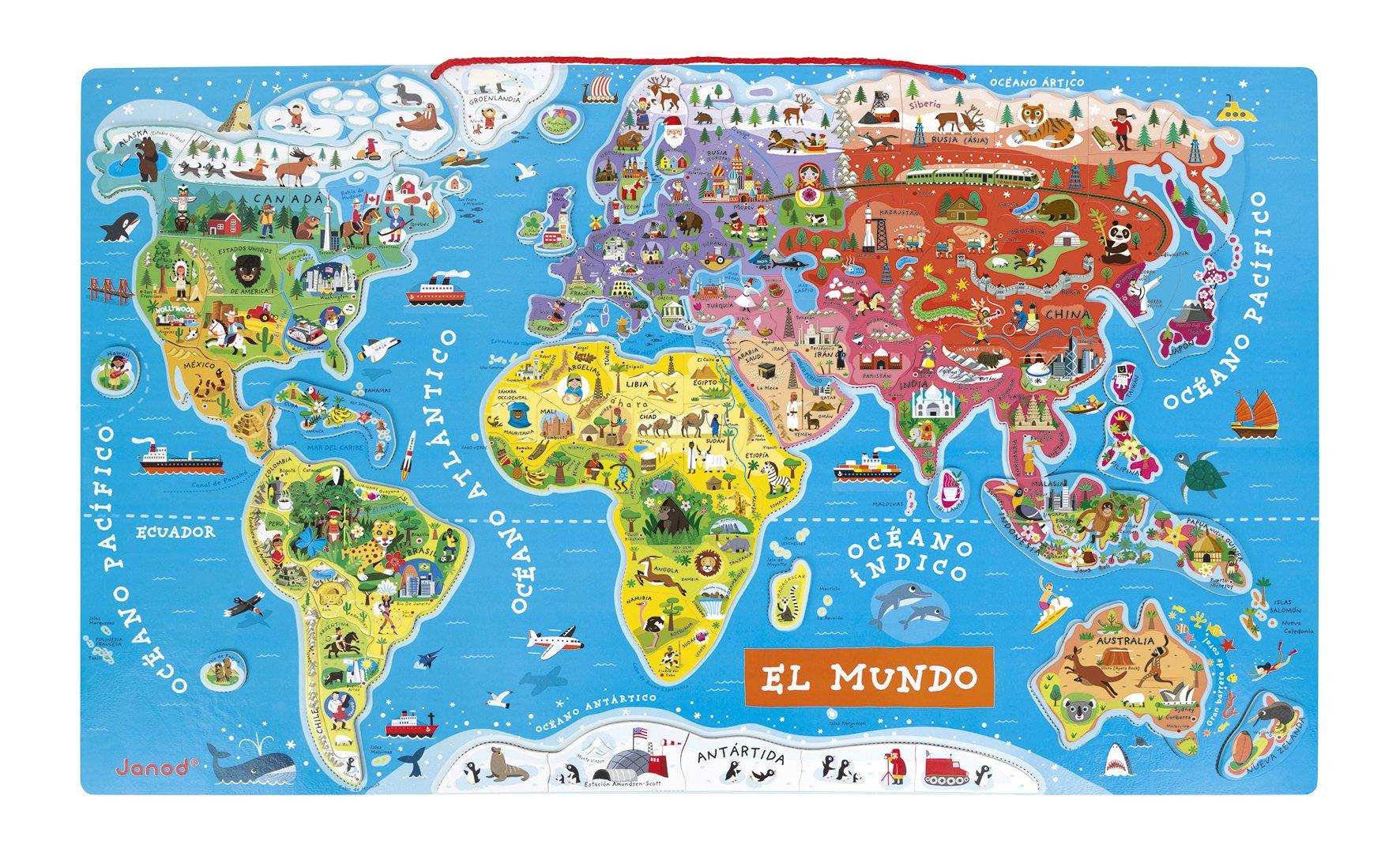 Janod – Puzzle magnético del Mundo de madera, Version en Español, 92 piezas(J05503)