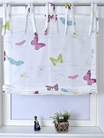 Raffrollo Mit Bindebändern Roma Butterfly Biba 45X140 Cm: Amazon