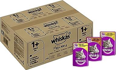 Whiskas Katzen-/Nassfutter Multipack Adult 1+ für Erwachsene Katzen Geflügelauswahl in Sauce, 84 Portionsbeutel (84 x 100 g)