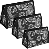 TULMAN Set of 3 Peacock Pattern Travel Pouch Toiletry Organizer Cosmetic Pouch for Women - Black