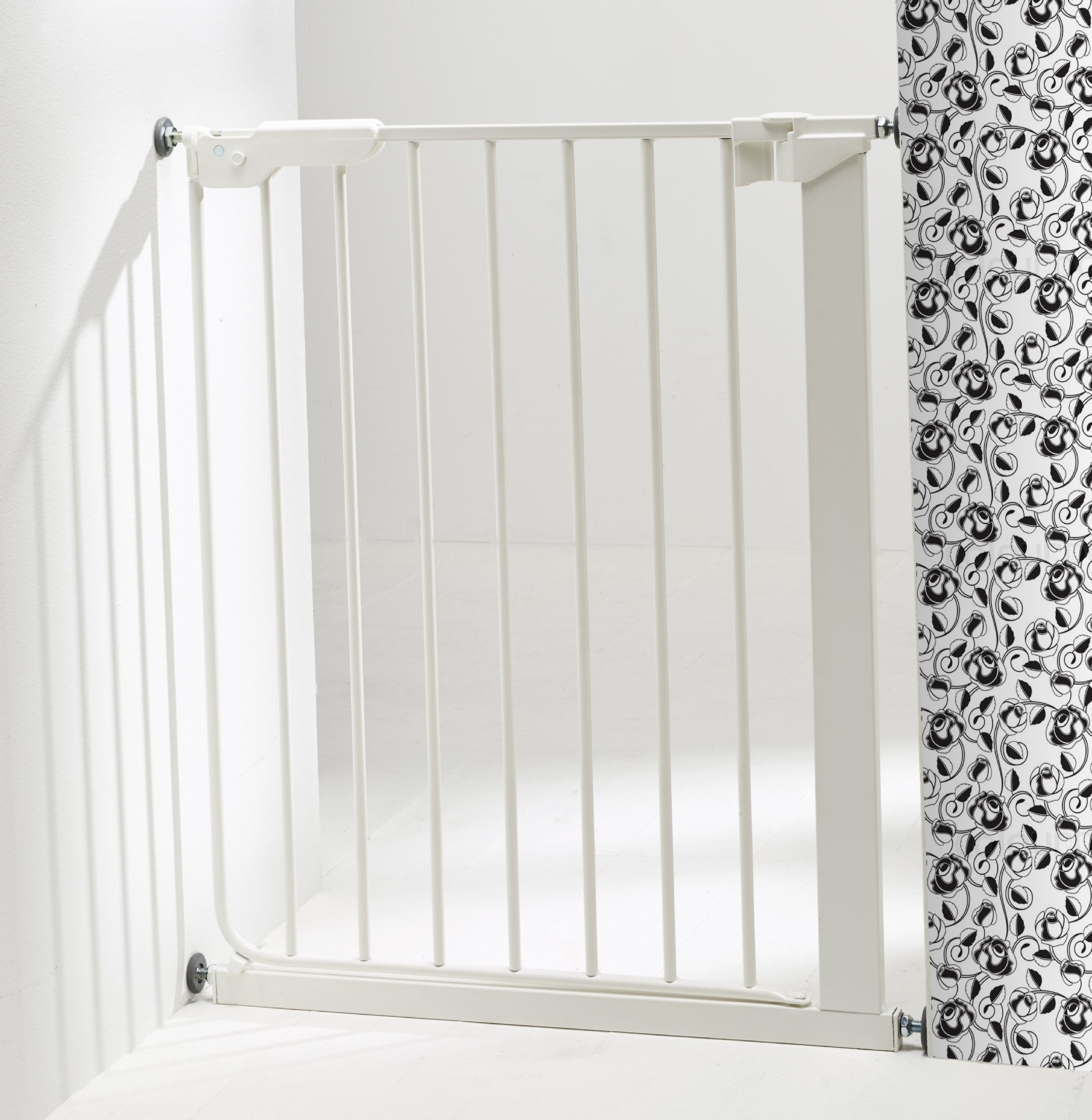 BabyDan 51994-2400-27-88 Slim Fit Stair Gate White  Baby Dan slim fit safety gate is designed for extra narrow openings The pressure fit make this super easy to install It offers a one hand 2 way opening for easy access between rooms 2