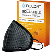 Boldfit Reusable Face Mask for Men and Women. 95% Protection from pollution and germs. Reusable and Washable upto 30 days. Easy Breathable and efficient for outdoor and Indoor use (Pack of 1)