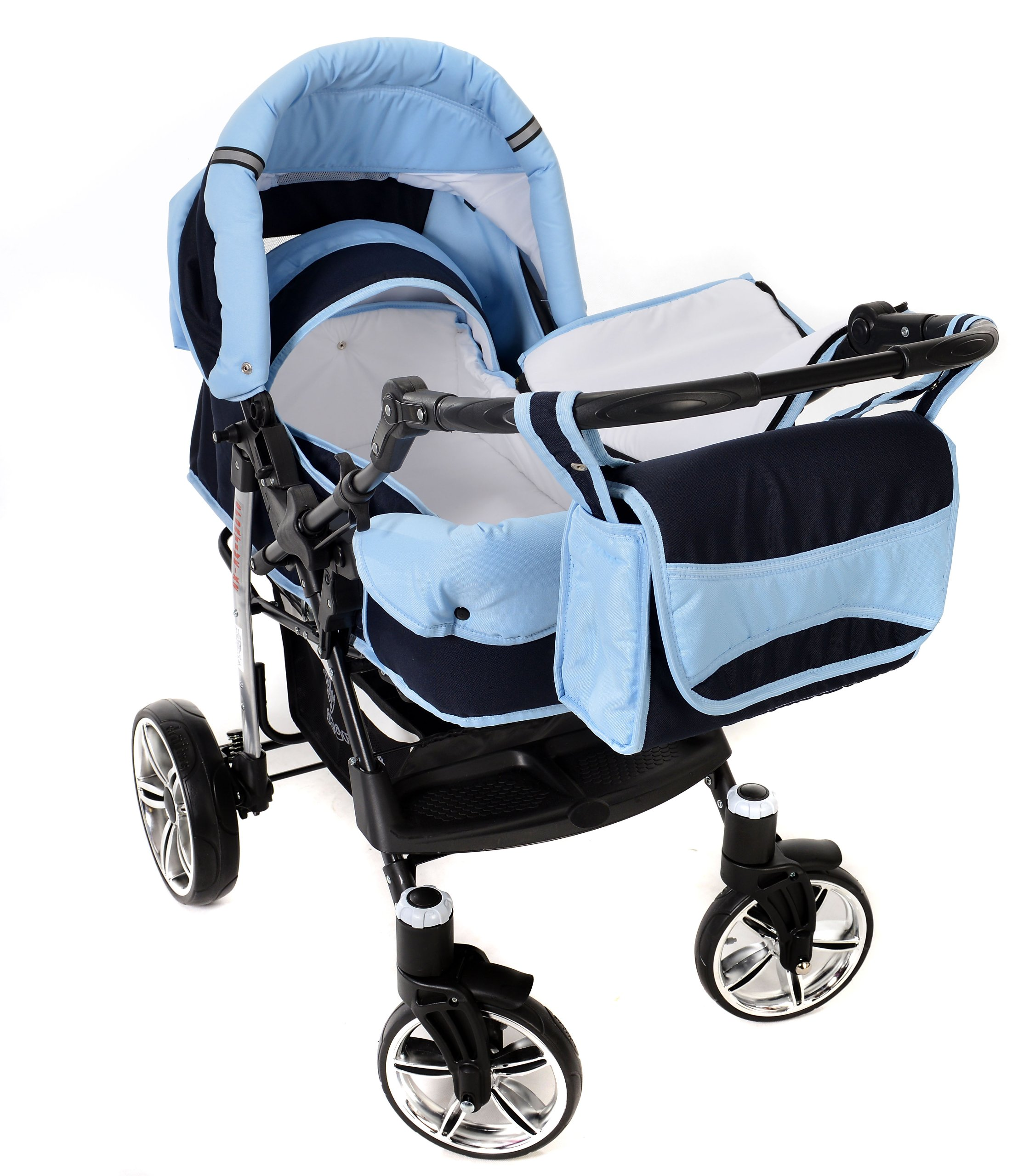 Sportive X2, 3-in-1 Travel System incl. Baby Pram with Swivel Wheels, Car Seat, Pushchair & Accessories (3-in-1 Travel System, Navy-Blue & Blue)  3 in 1 Travel System All in One Set - Pram, Car Carrier Seat and Sport Buggy + Accessories: carrier bag, rain protection, mosquito net, changing mat, removable bottle holder and removable tray for your child's bits and pieces Suitable from birth, Easy Quick Folding System; Large storage basket; Turnable handle bar that allows to face or rear the drive direction; Quick release rear wheels for easy cleaning after muddy walks Front lockable 360o swivel wheels for manoeuvrability , Small sized when folded, fits into many small car trunks, Carry-cot with a removable hood, Reflective elements for better visibility 8