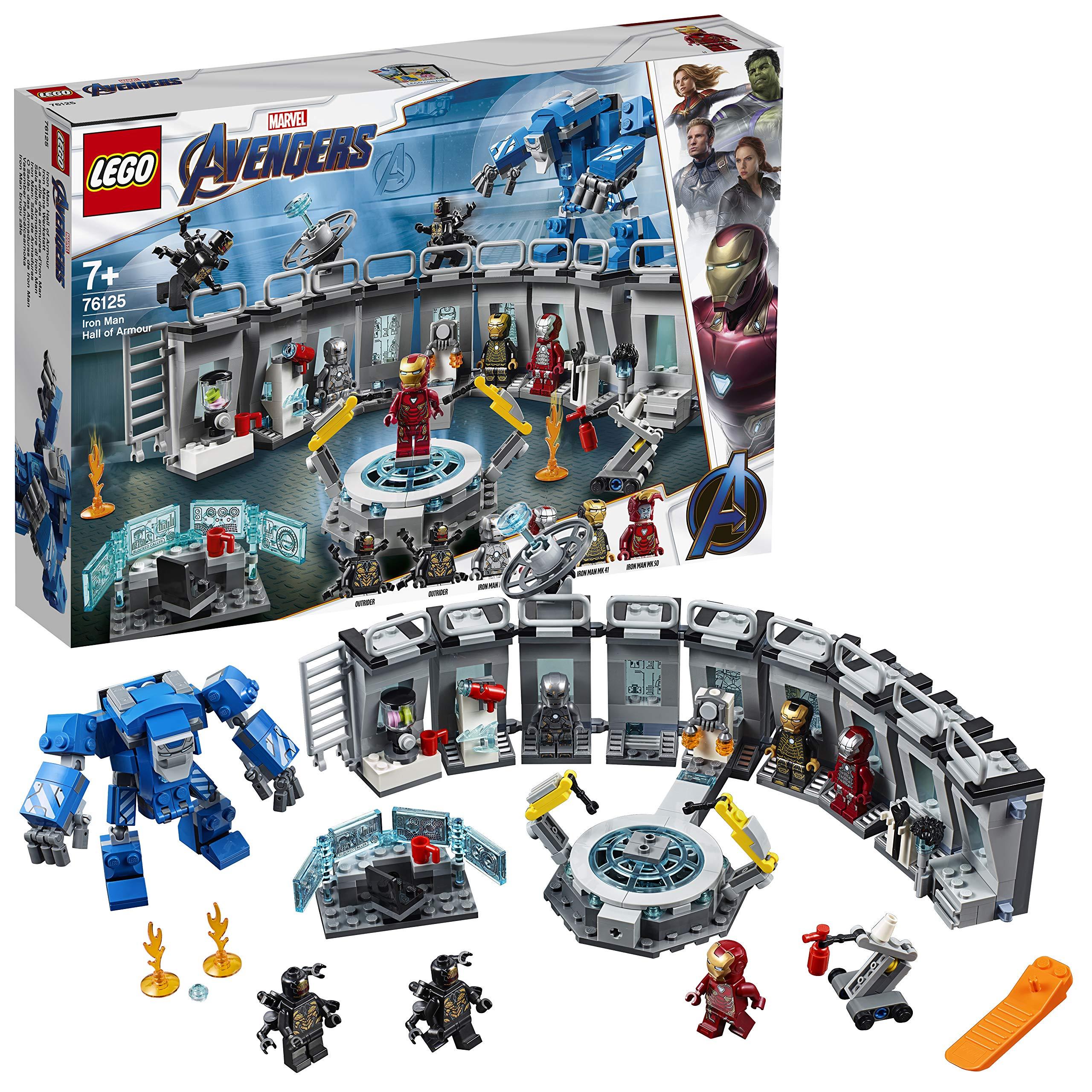 LEGO Super Heroes – Iron Man: Sala de Armaduras, Juguete de Construcción de la Colección de Trajes de Combate de Tony Stark (76125)