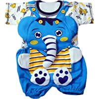 TENDERCARE Baby Boy's & Baby Girl's Jumbo The Elephant Dungaree for 0-6months Baby || Baby boy Dresses for 0-6 Months
