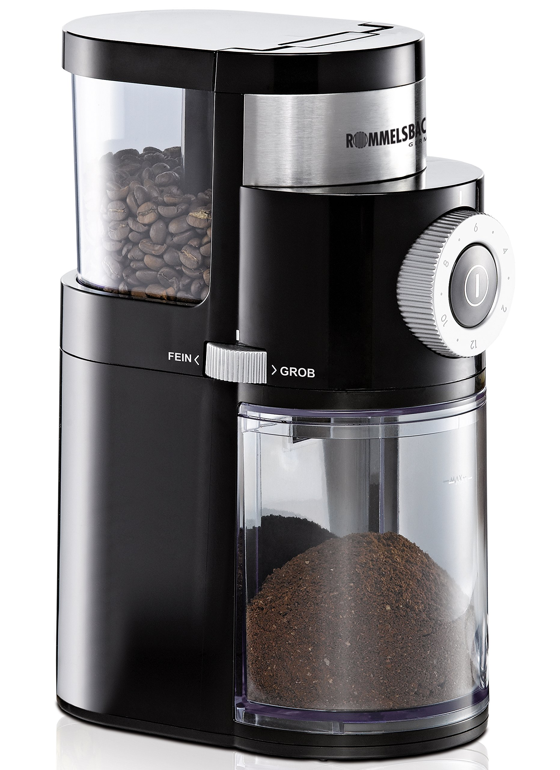 ROMMELSBACHER Kaffeemühle EKM 200 – aromaschonendes Scheibenmahlwerk, Mahlgrad einstellbar von grob bis extra fein, 2-12…