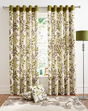Green Curtains amazon green curtains : Just Contempo Leaf Printed Eyelet Lined Curtains, Green, 66x54 ...