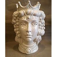 """Testa di moro in ceramica siciliana Bianca white 35 cm DONNA ottimo dettaglio e rilievo""""CON DEDICA A VOSTRA SCELTA"""""""