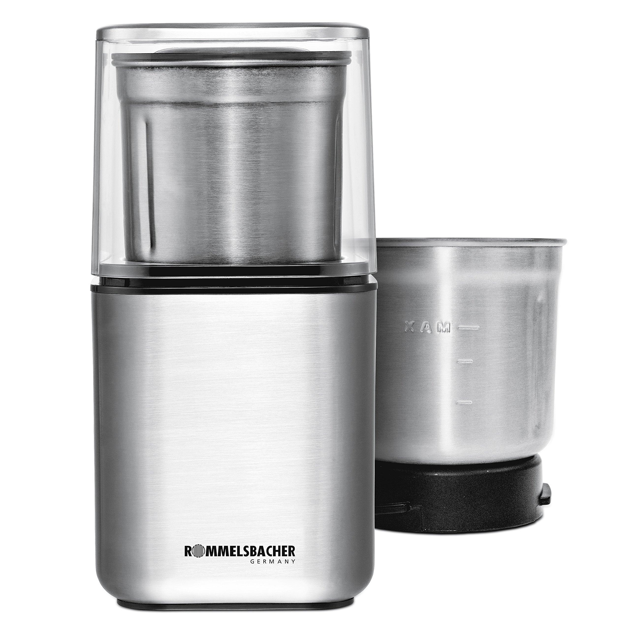 ROMMELSBACHER Gewürz und Kaffee Mühle EGK 200 – 2 Edelstahlbehälter mit Schlagmesser & Spezialmesser, Füllmenge 70 g…