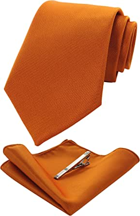 JEMYGINS Set di Tinta Unita Cravatta e Fazzoletto da Taschino con Fermacravatta da Uomo