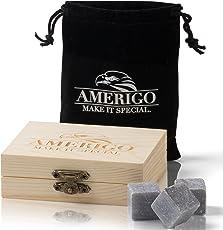 Premium Whisky Steine Geschenkset von Amerigo - Zerstört Whiskey Wegen Geschmolzen Eis? Nie Wieder! 9 Eiswürfel Wiederverwendbar - Besondere Geschenke für Männer - Whiskey Kühlsteine Geschenk