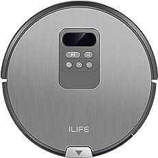 ILIFE V80 Saugroboter mit Wischfunktion | intelligente i-move Navigation mit Timer | 80mm flach | für alle Böden | über 2 Stunden Laufzeit | 2in1 nass Wischen oder Staubsaugen | automatischer Staubsauger Roboter
