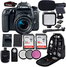 Canon EOS 77D DSLR Camera with Canon EF-S 18-55mm f/4-5.6 IS STM Lens + LED Light + Microphone + Video Accessory Bundle