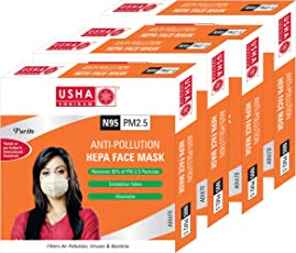 Usha Shriram Purito N95 PM2.5 HEPA Anti Pollution Face Mask (Pack of 4) Air Mask