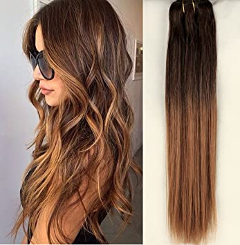 18 inch full head clip in 100 human hair extensions 6 pcs ombre 18 inch full head clip in 100 human hair extensions 6 pcs ombre chocolate brown to dark blonde amazon beauty pmusecretfo Choice Image