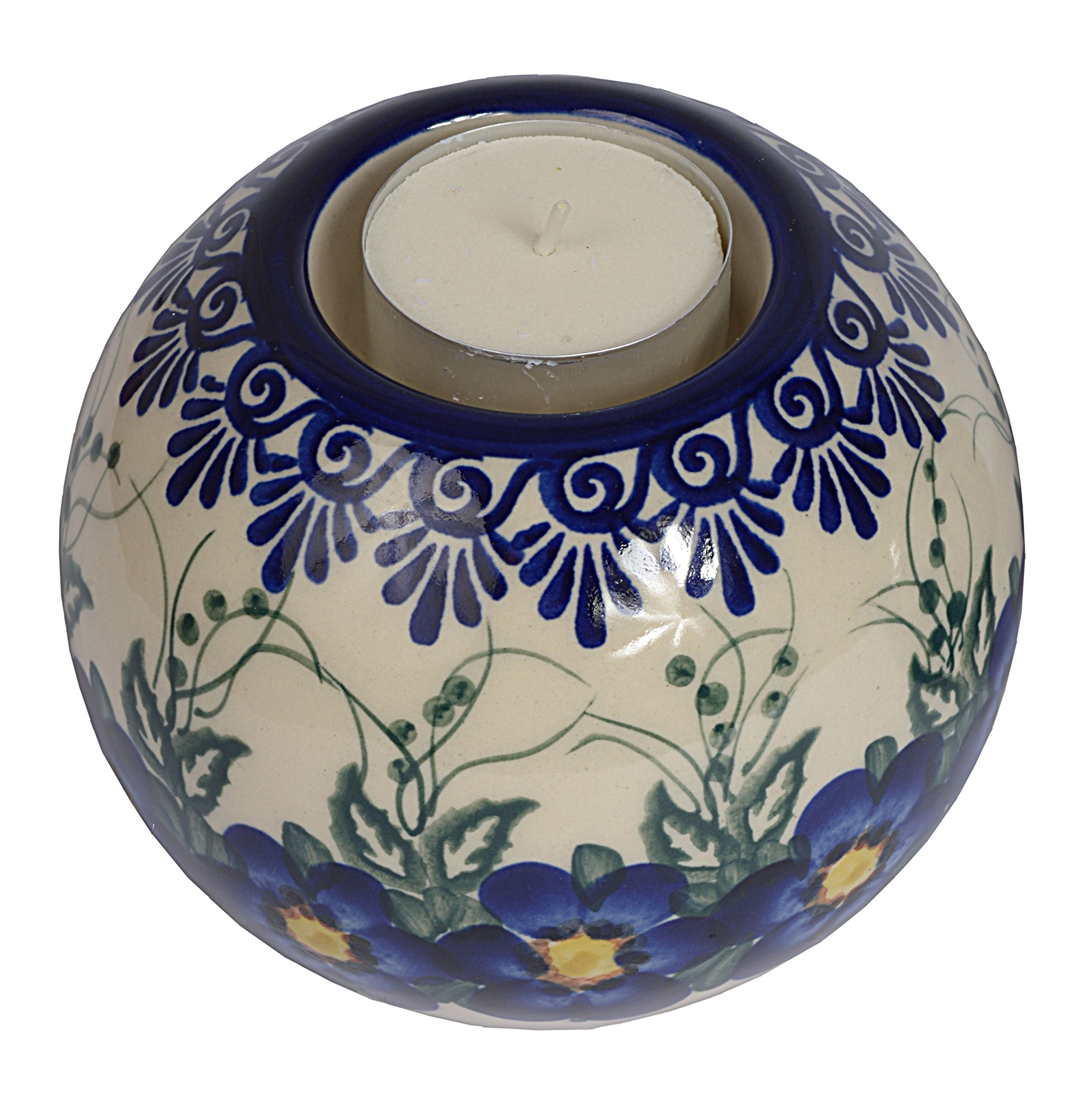 Traditional Polish Pottery, Handcrafted Ceramic Tea Light Candle Holder, diameter 10cm, Boleslawiec Style Pattern, D.503.PANSY