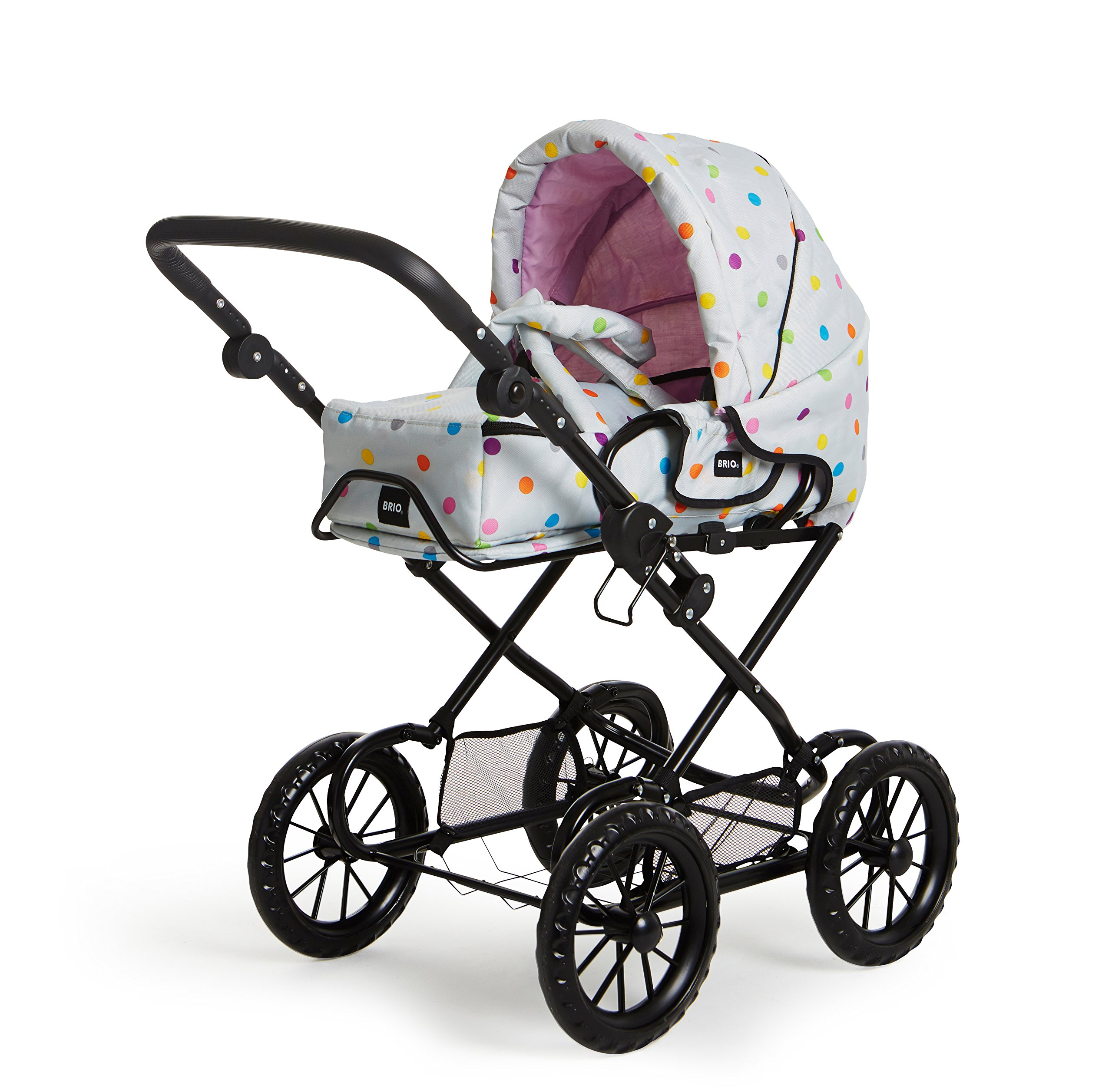 POPPENWAGEN COMBI GRIJS MET ST Ravensburger Combi Doll's Pram in a new design with multi-coloured dots With removable carry bag With adjustable push handle from 44to 79cm 1
