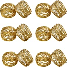 SKAVIJ Round Mesh Gold Napkin Rings Brass Round for Weddings Dinner Parties or Every Day Use