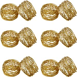 Worldexplorer Gold △ Mesh Napkin Rings Set for Weddings Dinner Parties or Every Day Use Pack of 4