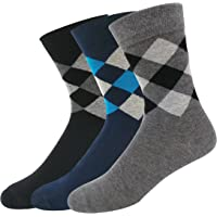 NAVYSPORT Men's Business Formal Argyle Cotton Socks (Multicolour) - Pack of 3