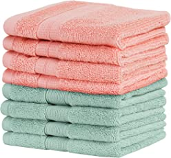 Urban Hues 500 GSM Cotton Face Towels, Pink & Green - Set of 8 (12 Inch x 12 Inch)