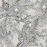 Mamboa Wallpaper Darcy James Jaguar Jungle Tropical Grey