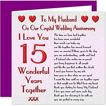my husband 15th wedding anniversary card on our crystal anniversary 15 years sentimental - Wedding Anniversary Cards