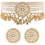 I Jewels 18k Gold Plated Traditional Choker Set Glided With Kundan & Pearls For Women/Girls (K7097)