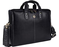 HAMMONDS FLYCATCHER Genuine Leather 14inch Laptop Messenger Bag (Black)
